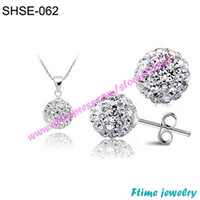 Necklace Settings Jewelry Sets Fashion Fashion Crystal Shamballa 10mm CZ Disco Pave Crystal Ball Pendant Necklace+Stud Earrings+Silver Chains Mix Options Free Shipping
