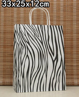 Paper Hand Length Handle Kraft Paper Free Shipping Big size zebra paper bag, 33X25X12CM, Kraft gift bag with handle,Wholesale price (AS-0050)