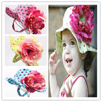 Girl Summer Crochet Hats Wholesale-1PC 100% Brand New Fashion Flower Summer Bucket Hat Caps,Children Big Flower Sunhat Kids Headwear Free Shipping