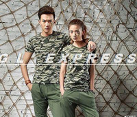 Women V-Neck Short Sleeve 2014 T Shirt Men's Camouflage Woodland Tee Top Military Army Camo Print Tops Blouse