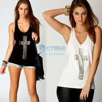 Wholesale 2014 fall Hot CPW Womens vest t shirts sexy fashion rhinestones cross hot drill racerback low o neck slim tanks SV001462 b003