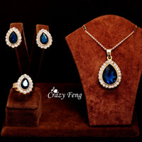 Wholesale Women s k Yellow Gold Filled Ruby White Blue Austrian Crystal With Necklace Earrings Ring Jewelry Sets