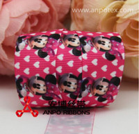 Wholesale NEW quot mm minnie mouse printed grosgrain ribbon grosgrain satin ribbon cartoon hair accessories yards