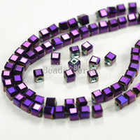 Wholesale Strands Purple AB Color Faceted Cube Glass Crystal Loose Beads mm W03676 X