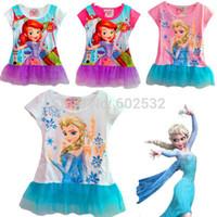 Summer ann summers - Retail new Frozen Princess Ann Elsa Summer girl t shirt Cartoon kids causal T shirts girls cotton yarn brand short tee