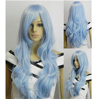 Blue Long Girl Cheap Synthetic Hair 33 Inches Light Blue Cosplay Wig High Quality Long Cosplay Wigs Top Fashion BT0016