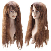 Wholesale Curly Wavy Cosplay Wig Light Brown Cheap Synthetic Wig Inches Designer Cosplay Wig BT0043