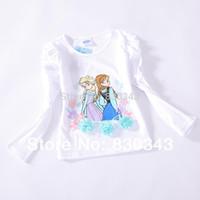 Girl Summer Children 2014 New Arrival Cute Frozen Princess Elsa and Anna Girls Long Sleeve Cotton t-shirt top tees t shirt white 10pcs lot
