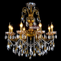 Wholesale Fashion Big crystal chandelier lighting fixture antique brass color Large hanging Light Fitting Bronze color for Foyer Hallway