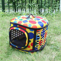Wholesale Folding Pet Carrier Dog Cat Travel Bag Collapsible Crate Tote Handbag Dots Graphic Pattern Travel Cage EVA YPET0001