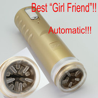 Wholesale Gold Electric Retractable Male Masturbator Pussy Cup Piston Fully automatic Sex Machine Sex toys for men Adult Sex toys X B