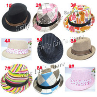 Unisex Summer Crochet Hats Wholesale-Children Hat & Cap, Mixed Designs Kids Trilby Fedora Hat, Baby Top Hat, Jazz Cap Fit 2-5 years 10pcs lot Free Shipping