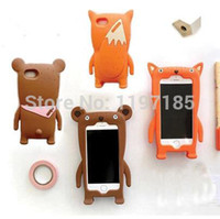 Wholesale fashionable soft silicone cute cartoon fox bear animal Case Cover for iphone s s