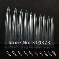 Wholesale 10 packs Clear Acrylic Nail Art Long Stiletto Sharp Ending Solon Artificial Fake False Haft Tips