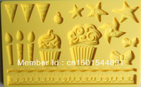 Wholesale Free shiping Fondant tool Star shape baking mold silicone embossing die sugar Arts flower AA004