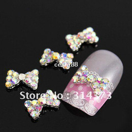 Wholesale 100pcs X9MM D Alloy Bow Tie Bowkont Crystal AB Rhinestones Beads Acrylic Nail Art Tips Phone Case DIY Design Decorations