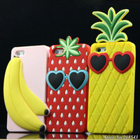 For Apple iPhone Silicone Case 3D Ice Cream Fruits Silicon Case for iPhone 4s 4 Mobile Phone Bag for iPhone 4 s Summer Pineapple Banana Orange Soft Back Covers