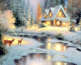 Unfinished DIY Diamond Crystal Painting Sets Handmade Craft Kits, scenery Snowy Night picture free shipping