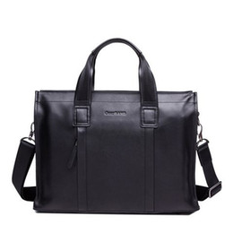 Free Shipping New Arrival Gear Band Brand Gentlemen Range Dobule Pockets Men's Leather Briefcase/Tote/Messenger Black