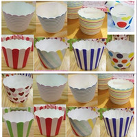 Wholesale 1500 Paper bucket MUFFIN paper cake cups Stripe and Dot Paper CUPCAKE CASES baking cup cake holder H122
