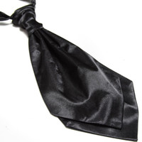ascot - new fashion solid black satin cravat neck tie for men necktie ascot