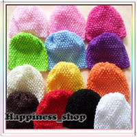 Cheap Wholesale-20pcs lot Wholesale Infant toddler baby girl 15cm*14cm crochet hat Knitted cap 12Colors for choose Free Shipping