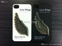For Apple iPhone Metal White Angel Wing Mental PC Case Back Cover Cell Phone Skin Cases For Iphone 4 4S Mix Order DHL Free Shipping