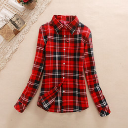 Wholesale 2014 new women blouses winter and spring blouses cotton casual long sleeve shirt basic plaid shirt M L XL XXL
