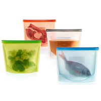 Wholesale Silicone Fresh Bag with Food Sealed Clips Silicone storage bag Reusable household fresh bags
