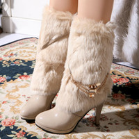 Half Boots naked 2 - ENMAYER New arrivals sweet style casual warm winter snow boots color solid high heeled boots naked