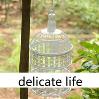 Wholesale 2014 New Small Size White Garden Decor Birdcage Iron Birdhouse Fashion Iron Decoration Bird Cage