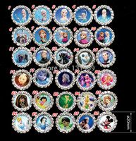 Wholesale frozen Anna Elsa Round Diamante Clear Rhinestone Crystal Cluster Scrapbooking Craft Embellishments DIY button