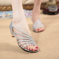 Wholesale Europe station summer new light stripes sexy sandals with hollow fish head wedge heel shoes women shoes