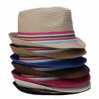 Wholesale Fashion colors Solid Color Straw Unisex Sun Beach Hat Rainbow Band Decor Fedora Type Available DVZ1