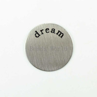 Trendy Stainless Steel Fashion Wholesale 5 Pcs Letters 'dream' 21mm Window Plate Origami Owl Floating Charms Fits 30mm Glass Living Locket (W03723 X 1)