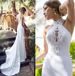 Wholesale - New Arrival Julie Vino 2014 Beach Wedding Dresses High Collar Applique Beaded Sash Chiffon Wedding Dress Sexy Bride Gowns Court