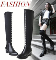 Wholesale fashion rivets thigh long boots pointed toe elastic cloth over the knee boots women winter boots size to