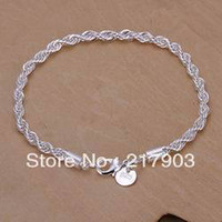 Wholesale H207 silver bracelet silver fashion jewelry Twisted Line Bracelet