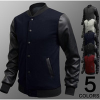 Wholesale 5pcs New Men Sweater PU Leather Collar Sweater Personalized Baseball Stitching Clothes Man Jacket Plus Size M XL Wine Red Navy
