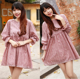 Wholesale Korea Cotton Maternity Dress Skirt Clothes Floral Print Pregnant Women Maternity Dresses Clothing Spring Autumn