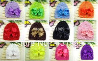 Unisex Summer Crochet Hats wholesale 12 sets Newborn Baby Girl Infant Soft Stretch Crochet Hat Cap Beanie+Costume Boutique ribbon Hair Bow Flower Clips