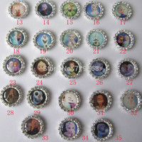 Quilt Accessories Buttons Yes 100pcs lot 36styles Frozen Move Princess metal rhinestone button scrapbooking embellishment flat back hair bow center crafting