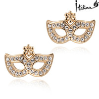 Wholesale Italina Rigant Woman Cute Mask Stud Earrings With Austrian Crystal Stellux Top Quality Anti Allergy RG87015