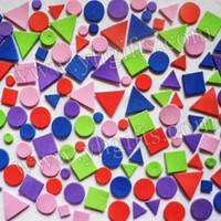 Wholesale 9000PCS Foam geometric stickers Foam puzzle sticker Wall sticker Early educatioal toys DIY crafts cm Bulk Stock