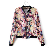 Women Fashion Stand Collar vintage Floral Printed Pattern Zipper Coat Jacket New Womens Chic Contrast Trim Long Sleeve Crew Neck Casual Slim Outerwear sml