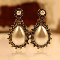 Wholesale fashion new water carved imitation pearl earrings jewellry