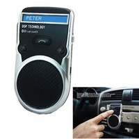 Wholesale 50 shipping fee pieces Black Solar Powered Bluetooth Car Kit Handsfree call Device LCD Display w Car charger