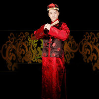 Wholesale Orange red costume male landlord master Chinese wedding ceremony clothing costume toast new hi groomsmen suits for men