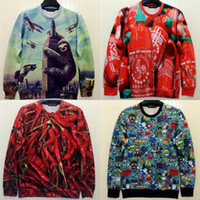 Wholesale mens sport suit women hoody Sloth red peppers D printed sweatshirt harajuku women s sweaters and pullovers coat winter clothes