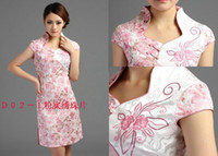 Wholesale embroidery Qipao women summer dress New Year Chinese traditional cheongsam party sexy Wedding dresses chi pao D02